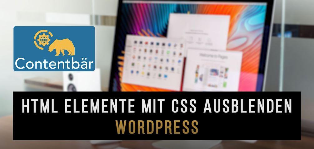 HTML Elemente mit CSS ausblenden Beispiel Wordpress